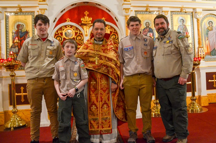 Vladimer Gingo, Maxim Gingo, Fr. George Vokovinsky, and Aric Gingo